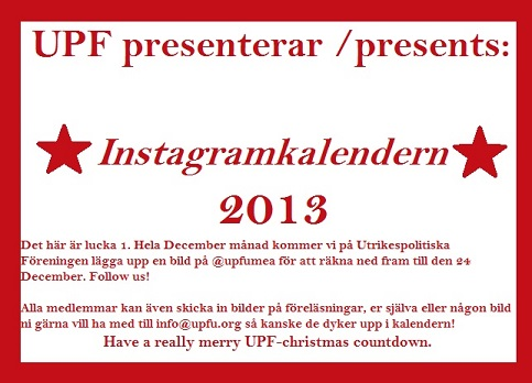 Instagramkalendern is here! Follow @upfumea on Instagram